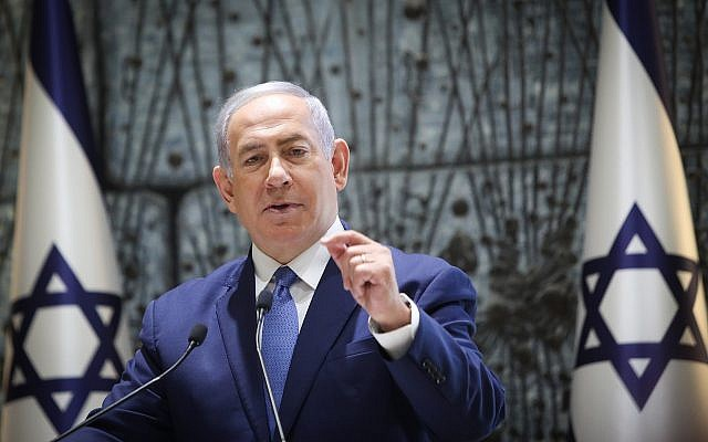 Prime Minister Benjamin Netanyahu speaks at a ceremony in memory of Israeli presidents and prime ministers who passed away, held  at the President's Residence in Jerusalem on June 17, 2019. (Noam Revkin Fenton/Flash90)