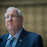 President Reuven Rivlin at a ceremony in memory of Israeli soldiers killed in the First Lebanon War in Jerusalem on June 18, 2019 (Noam Revkin Fenton/FLASH90)