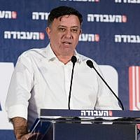 Labor party leader Avi Gabbay speaking at the Labor Party conference in Tel Aviv, June 23, 2019. (Tomer Neuberg/Flash90)