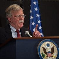 US National Security Adviser John Bolton speaking at a press conference in Jerusalem, June 25, 2019. (Noam Revkin Fenton\Flash90)