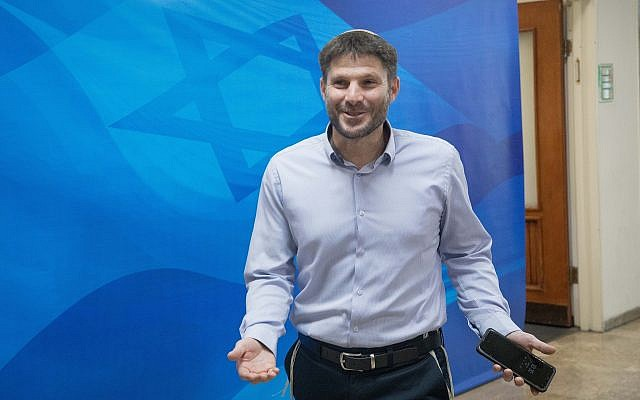 Transportation Minister Betzalel Smotrich arrives for the weekly cabinet meeting, at the Prime Minister's Office in Jerusalem, on June 24, 2019. (Noam Revkin Fenton/Flash90)