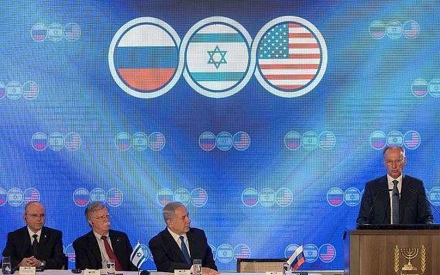 Secretary of the Russian Security Council Nikolai Patrushev speaks at a trilateral summit with Prime Minister Benjamin Netanyahu, center-right, US National Security Adviser John Bolton, center-left, and National Security Adviser Meir Ben-Shabbat at the Orient Hotel in Jerusalem on June 25, 2019. (Noam Revkin Fenton\Flash90)