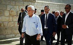 Chilean President Sebastian Pinera visits at the Church of the Nativity in the West Bank city of Bethlehem, June 25, 2019. (Wisam Hashlamoun/Flash90)