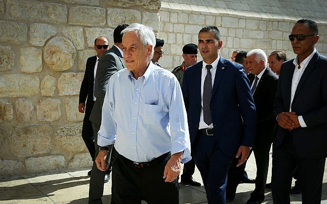 Chilean President Sebastian Pinera visits at the Church of the Nativity in the West Bank city of Bethlehem, June 25, 2019. (Wisam Hashlamoun/Flash90)