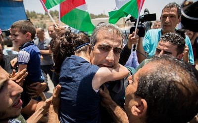 Mahmoud Qadusa after being released from prison on June 25, 2019. (Yonatan Sindel/Flash90)
