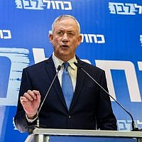 Blue and White leader Benny Gantz speaks at a press conference in Tel Aviv on June 26, 2019. (Flash90)