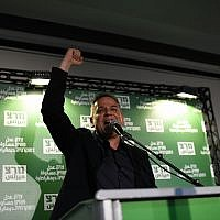 Nitzan Horowitz, the newly voted head of left-wing Meretz party, reacts as he makes a victory speech, after winning the party leadership at a vote in Tel Aviv, June 27, 2019. (Gili Yaari/Flash90)