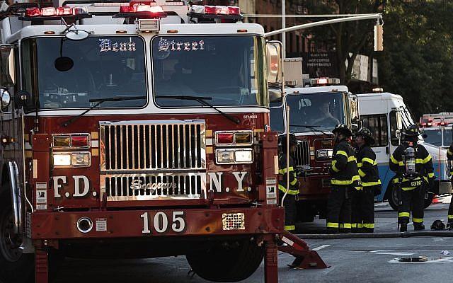 Illustrative: Fire Department truck (Atilgan Ozdil/Anadolu Agency/Getty Images, via JTA)