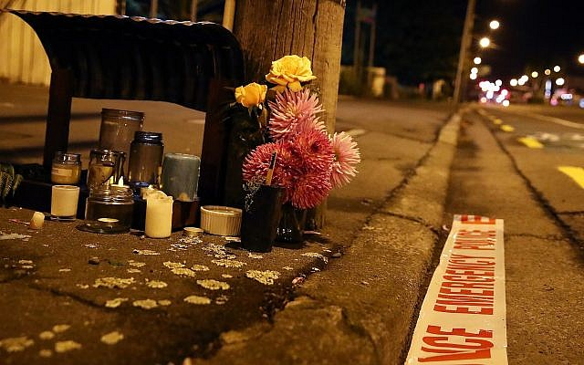 Tributes are left near the Al Noor Mosque in Christchurch, New Zealand, March 16, 2019, after a deadly shooting. (Fiona Goodall/Getty Images/via JTA)