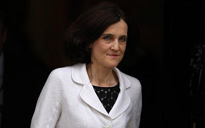 Theresa Villiers, seen here in London in 2016, urged the UK government to recognize the plight of Jewish refugees from Arab countries. (Dan Kitwood/Getty Images)