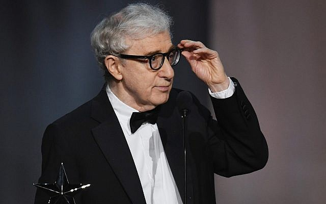 Woody Allen onstage during the American Film Institute's Life Achievement Award Gala for Diane Keaton at the Dolby Theatre in Hollywood, California, June 8, 2017. (Kevin Winter/Getty Images/via JTA)