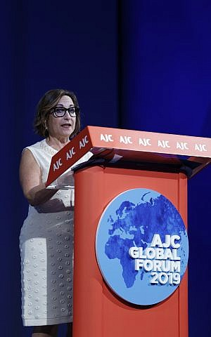 Harriet Schleifer addressing the 2019 American Jewish Committee Global Forum. (Courtesy AJC)