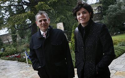 Meretz members Nitzan Horowitz and Tamar Zandberg at the President's Sesidence in Jerusalem on January 31, 2013. (Miriam Alster/Flash90)