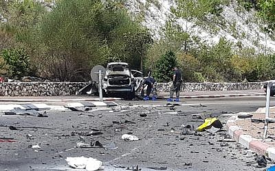 The scene of a car explosion in a suspected underworld hit in Nesher, June 3, 2019. (Israel Police)