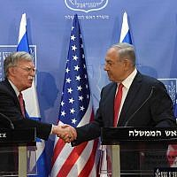 US National Security Adviser John Bolton, left, meets with Prime Minister Benjamin Netanyahu at the Prime Minister's Office in Jerusalem, June 23, 2019. (Haim Zach/GPO)