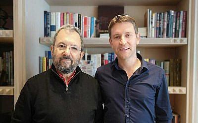 Former Labor party candidate Yair Fink (R)  with former prime minister Ehud Barak, June 30, 2019. (Courtesy)