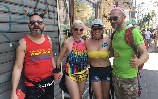 Celebrants from Gan Yavneh at the Tel Aviv Pride Parade, June 14, 2019 (Simona Weinglass/Times of Israel)