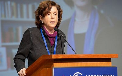 Maud Mandel, the president of Williams College, speaking at the Association of Jewish Studies conference in Boston, December 16, 2018. (Tim Correira via JTA)