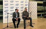 Bob Swan, the CEO of Intel Corp., left, and Yaniv Garty, general manager of Intel Israel, at a press conference on June 16, 2019, at the Peres Center for Peace and Innovation to launch a new accelerator program in Tel Aviv (Shoshanna Solomon/Times of Israel)