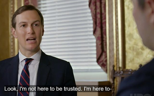Screen capture from video of Jared Kushner, senior adviser to US President Donald Trump, during an interview with the Axios on HBO channel, published June 2, 2019. (Axios)