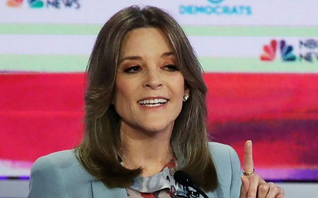 Jewish self-help author Marianne Williamson makes a point on the second night of NBC's 2020 Democratic Presidential candidates' debate in Miami, Florida on June 27, 2019. (Drew Angerer/Getty Images)