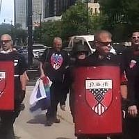 Screen capture from video of white nationalist protesters at the Motor City Pride event, Detroit, Michigan, June 8, 2019. (YouTube)