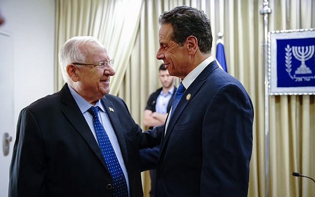 Gov. Andrew Cuomo on a solidarity and trade mission meets with Israel President Reuven Rivlin, June 27, 2019. (Courtesy)