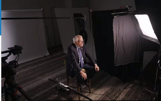 Screen capture from video of presidential candidate and US Senator Bernie Sanders (Independent-Vermont) speaking to the New York Times. (New York Times)