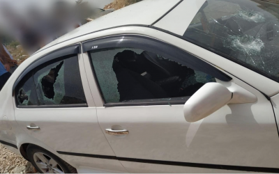 A car targeted in a price tag attack in the northern West Bank Palestinian village of Yasuf on June 5, 2019. (Israel Police)