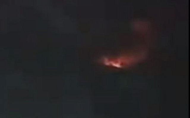 Explosions on the T-4 base in northern Syria reportedly caused by an Israeli airstrike on June 2, 2019 (Screencapture/Twitter)