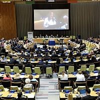 A ceremony was held at the United Nations headquarters in New York to mark the 25th anniversary of the terror attack on the AMIA Jewish Center in Buenos Aires. (Courtesy of World Jewish Congress via JTA)