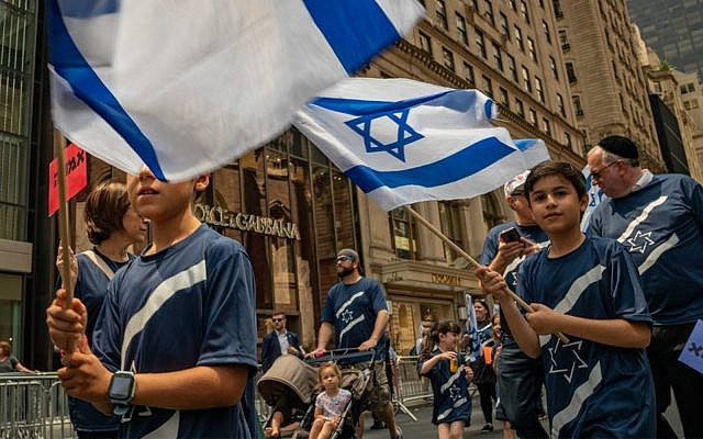 People wave flags during the annual Celebrate Israel Parade on June 2, 2019 in New York City. (David Dee Delgado/Getty Images/AFP)