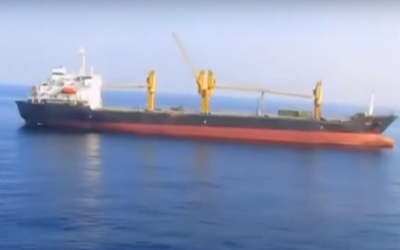 Iranian ship Saviz, stationed off the coast of Yemen. (Screenshot: YouTube)