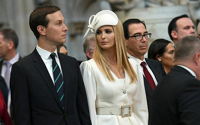 Ivanka Trump and Jared Kushner look on as US President Donald Trump places a wreath on the Grave of the Unknown Warrior during a tour of Westminster Abbey in central London, June 3, 2019. (Stefan Rousseau/Pool Photo via AP)