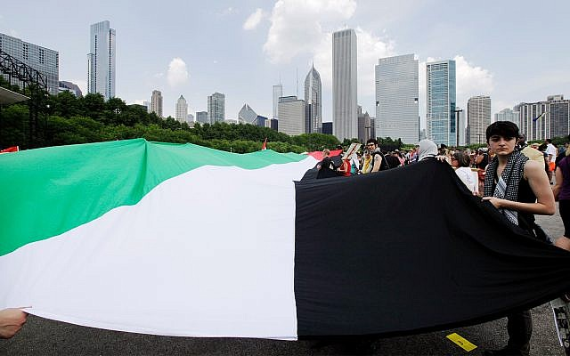 Demonstrators carry the Palestinian flag during a protest march in Chicago d, May 20, 2012. (AP Photo/Nam Y. Huh)