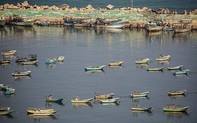 Fishing boats in the Gaza City port, June 25, 2019. (Hassan Jedi/Flash90)