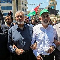 Hamas leaders Ismail Haniyeh and Yahya Sinwar in Gaza City, June 26, 2019. (Hassan Jedi/Flash90)