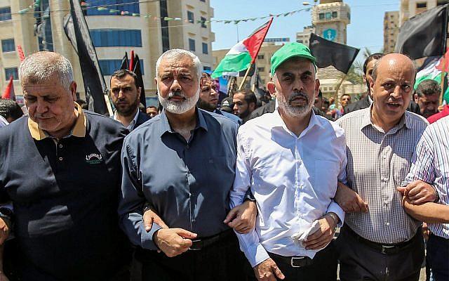 Hamas leaders Ismail Haniyeh and Yahya Sinwar in Gaza City, June 26, 2019. (Hassan Jedi/Flash90)