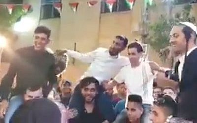Several Jewish settlers reportedly showed up at a Palestinian West Bank wedding celebration on June 13, 2019, sparking outrage. (YouTube screenshot)