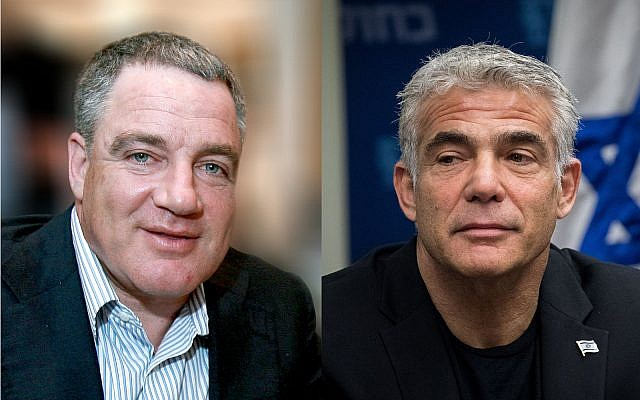 Israeli tycoon Idan Ofer, left, and Blue and White party no. 2 Yair Lapid, right. (Moshe Shai/Yonatan Sindel/Flash90)