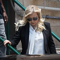 Sara Netanyahu leaves the Jerusalem Magistrate's Court, June 16, 2019. (Yonatan Sindel/Flash90)