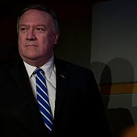 US Secretary of State Mike Pompeo arrives to speak at the State Department, June 13, 2019, in Washington. (AP Photo/Alex Brandon)