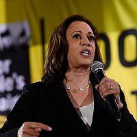 Democratic presidential candidate Sen. Kamala Harris, D-Calif., speaks at the Poor People's Moral Action Congress presidential forum in Washington, June 17, 2019. (AP Photo/Susan Walsh)