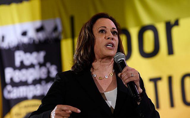 Democratic presidential candidate Sen. Kamala Harris, D-Calif., speaks at the Poor People's Moral Action Congress presidential forum in Washington, June 17, 2019. (AP Photo/Susan Walsh)