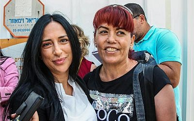 Dalal Daoud, right, seen after her release from prison in Ramle, June 20, 2019. (Flash90)