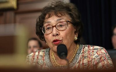 Rep. Nita Lowey, D-NY, a pro-Israel stalwart who chairs the powerful US House of Representatives Appropriations Committee, led the introduction of a bill to restore funding to Israeli-Palestinian dialogue groups. Pictured in Washington on April 9, 2019. (AP Photo/Andrew Harnik)