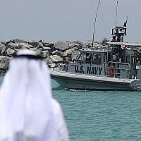 A US Navy patrol boat leaves a 5th Fleet base near Fujairah, United Arab Emirates, June 19, 2019. (AP Photo/Kamran Jebreili)