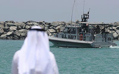 A US Navy patrol boat leaves a 5th Fleet base near Fujairah, United Arab Emirates, June 19, 2019. (AP Photo/Kamran Jebreili)