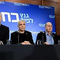Blue and White party leaders, from left to right: Benny Gantz, Yair Lapid, Moshe Ya'alon, Gabi Ashkenazi. Tel Aviv, March 18, 2019. (Tomer Neuberg/Flash90)