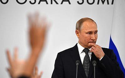 Russian President Vladimir Putin during a press conference on the sidelines of the G20 summit in Osaka, Japan, June 29, 2019. (Yuri Kadobnov/Pool Photo via AP)